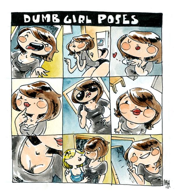 dumb girl poses