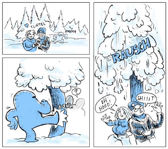 ferkel & der golem schneeballschlacht
